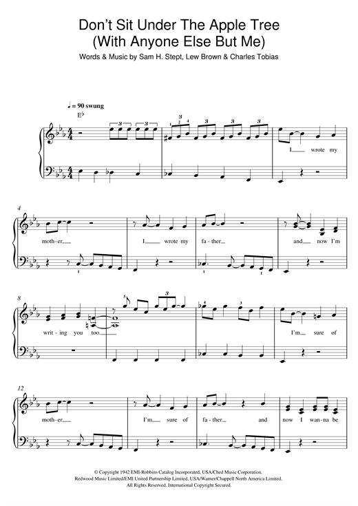 Don't Sit Under The Apple Tree (With Anyone Else But Me) Sheet Music