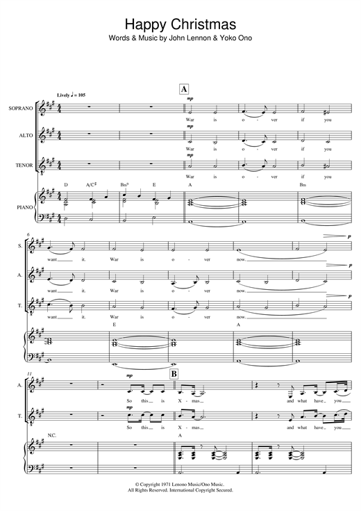 Happy Xmas (War Is Over) (arr. Mark De-Lisser) Sheet Music