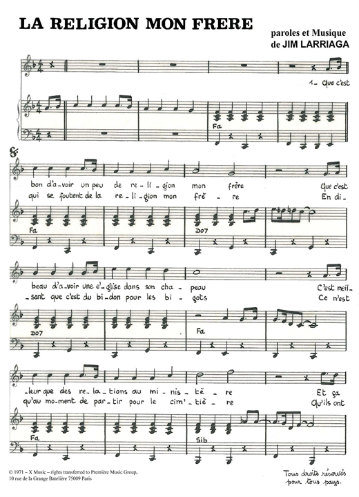 La Religion Mon Frere Sheet Music