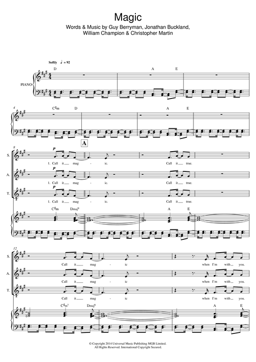 Magic (arr. Mark De-Lisser) (SAT Choir)