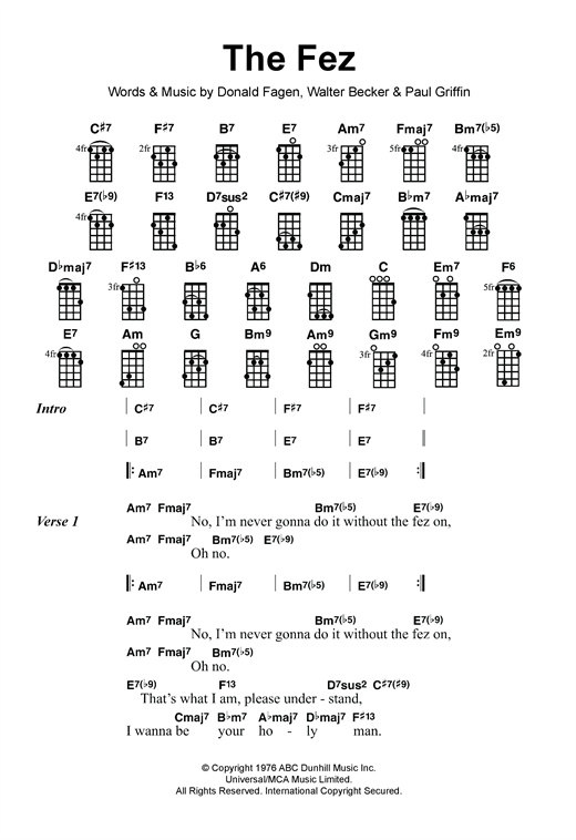 Tablature guitare The Fez de Steely Dan - Ukulele