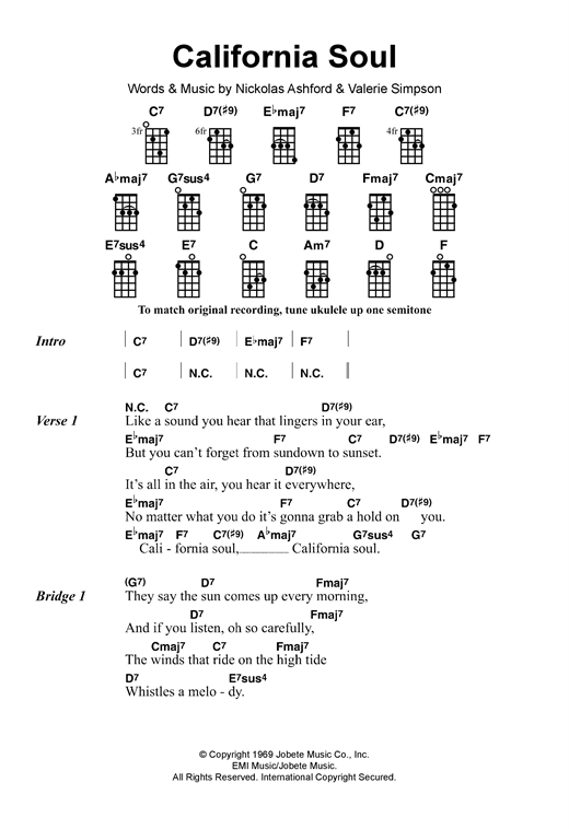 Tablature guitare California Soul de Marlena Shaw - Ukulele