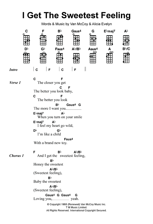 Tablature guitare I Get The Sweetest Feeling de Jackie Wilson - Ukulele