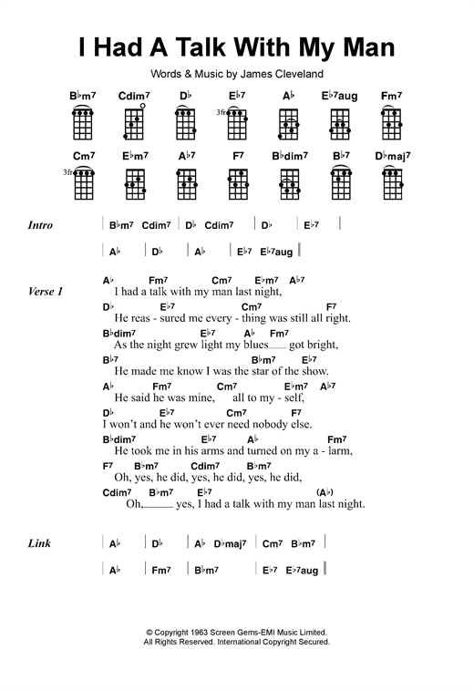 Tablature guitare I Had A Talk With My Man de Mitty Collier - Ukulele