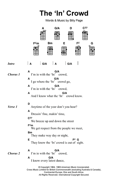 "Tablature guitare The ""In"" Crowd de Dobie Gray - Ukulele"