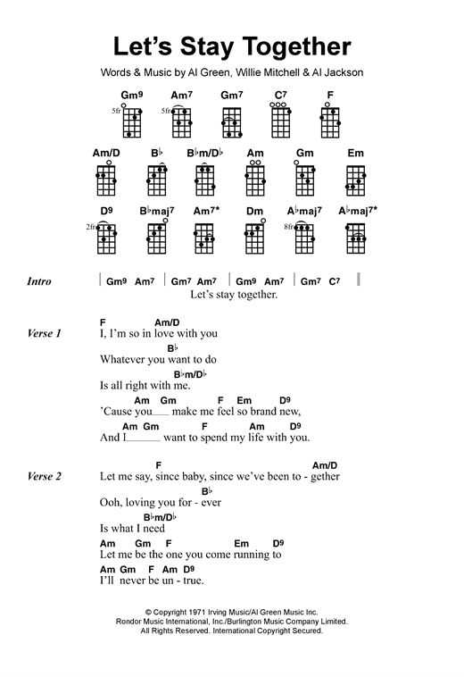 Tablature guitare Let's Stay Together de Al Green - Ukulele