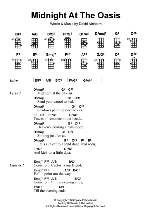 Tablature guitare Midnight At The Oasis de Maria Muldaur - Ukulele