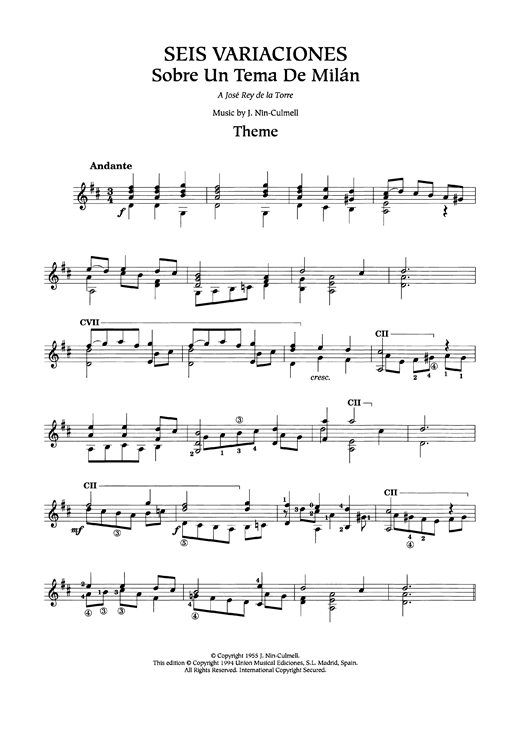 Seis Variaciones Sheet Music