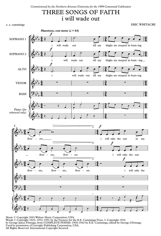 Partition chorale I Will Wade Out de Eric Whitacre - SATB