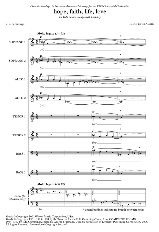 Partition chorale Hope, Faith, Life, Love de Eric Whitacre - SATB