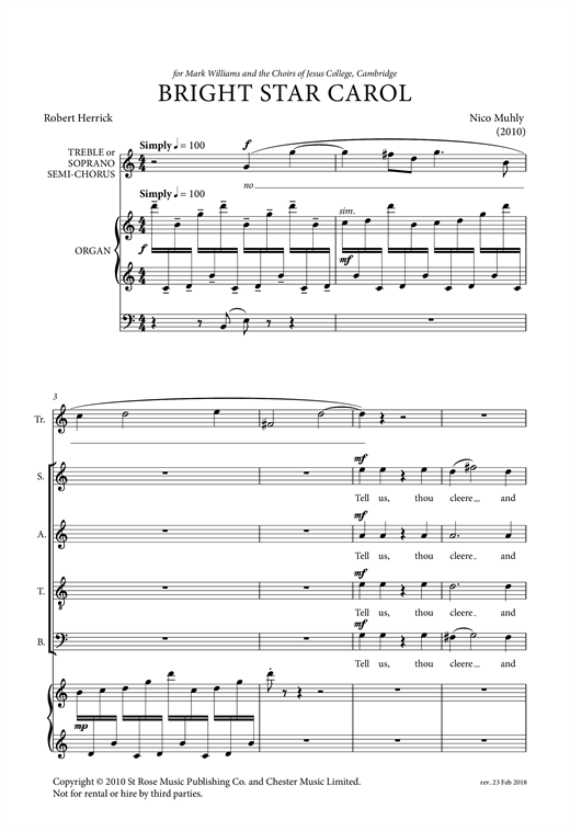 Partition chorale Bright Star Carol de Nico Muhly - SATB