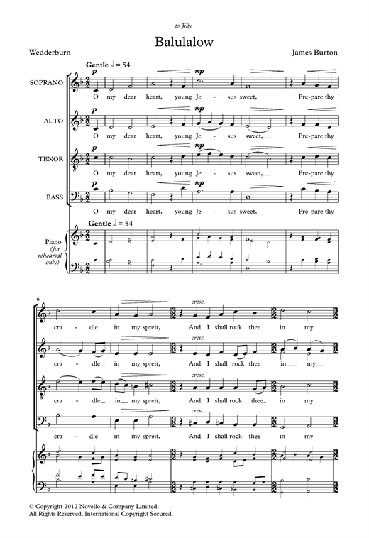 Partition chorale Balulalow de  - SATB