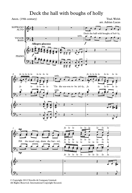 Deck The Halls With Boughs Of Holly (arr. Adrian Lucas) Sheet Music
