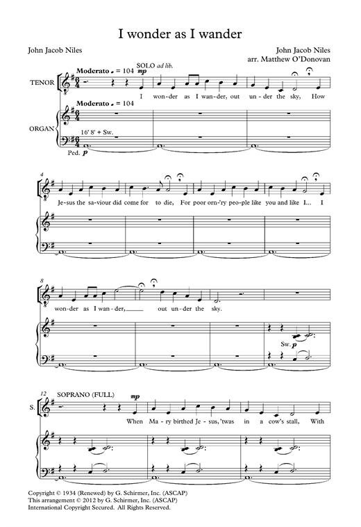 I Wonder As I Wander (arr. Matthew O'Donovan) Sheet Music