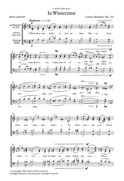 In Wintertime Sheet Music