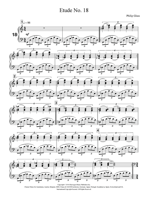 Partition piano Etude No. 18 de Philip Glass - Piano Solo