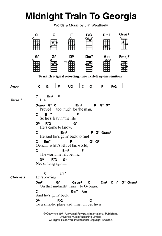 Tablature guitare Midnight Train To Georgia de Gladys Knight & The Pips - Ukulele