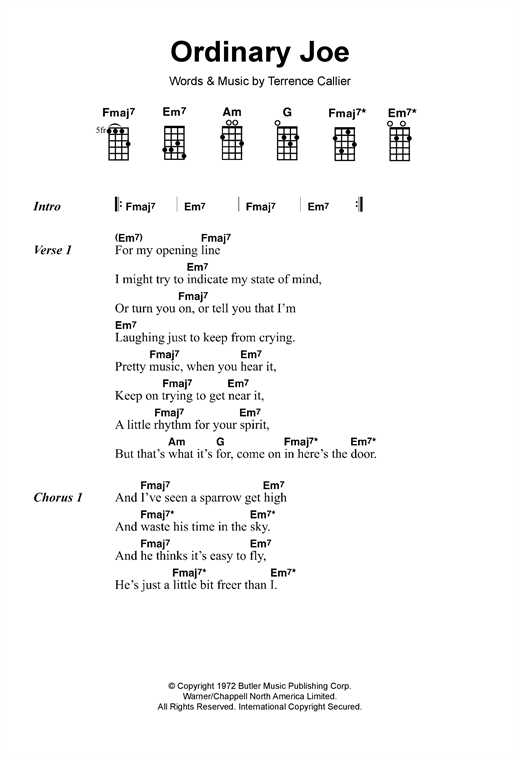 Tablature guitare Ordinary Joe de Terry Callier - Ukulele