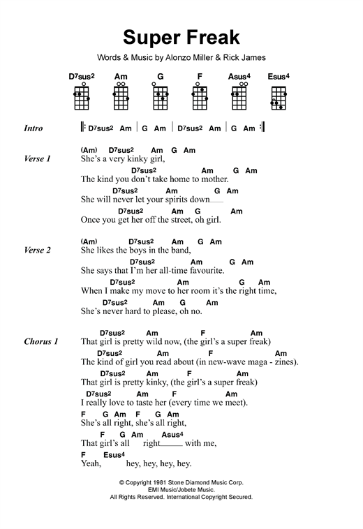 Tablature guitare Super Freak de Rick James - Ukulele