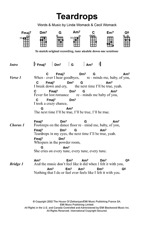 Tablature guitare Teardrops de Womack & Womack - Ukulele