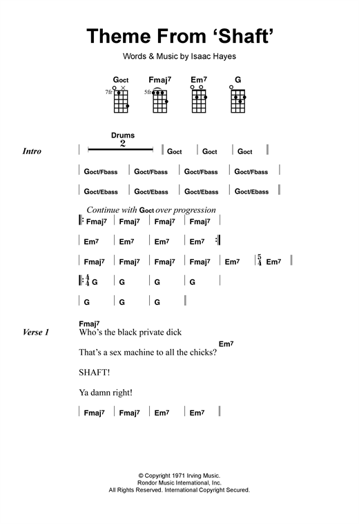 Tablature guitare Theme From 'Shaft' de Isaac Hayes - Ukulele
