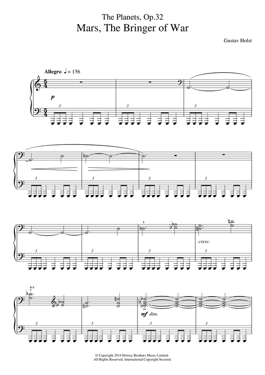 The Planets, Op. 32: Mars, the Bringer of War Sheet Music
