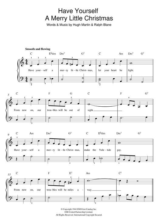 Frank Sinatra Have Yourself A Merry Little Christmas.Have Yourself A Merry Little Christmas Beginner Piano Sheet Music