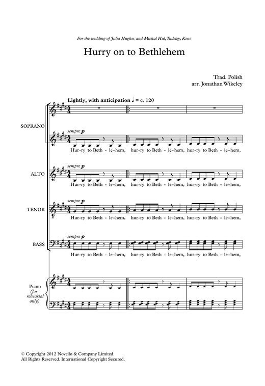 Partition chorale Hurry On To Bethlehem (arr. Jonathan Wikeley) de Traditional - SATB
