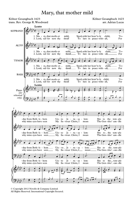 Partition chorale Mary, That Mother Mild de  - SATB