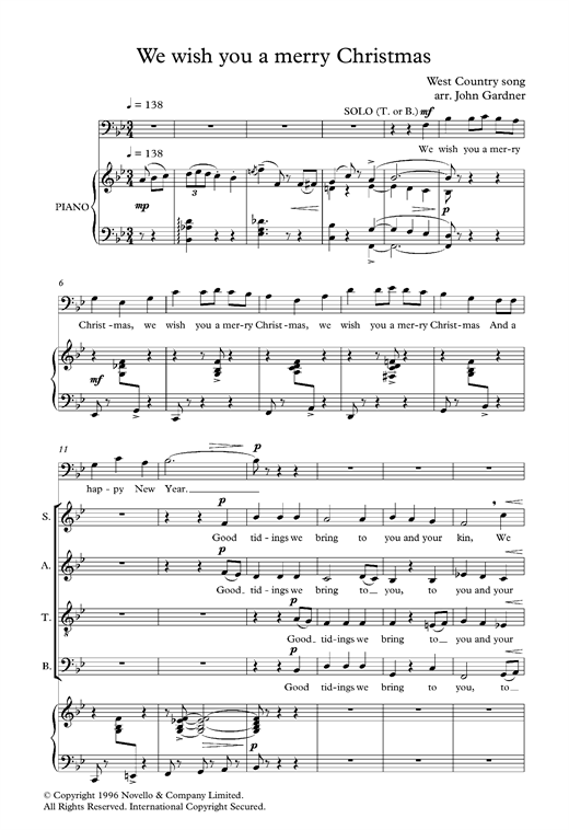 Partition chorale We Wish You A Merry Christmas (arr. John Gardner) de Traditional - SATB