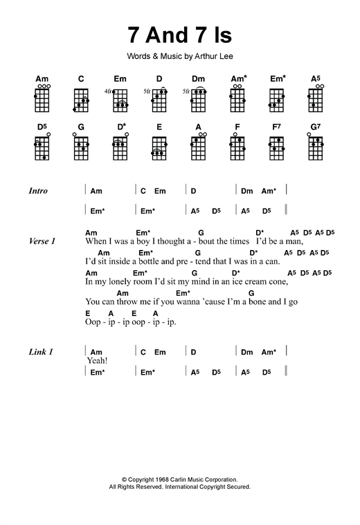 Tablature guitare 7 And 7 Is de Love - Autre