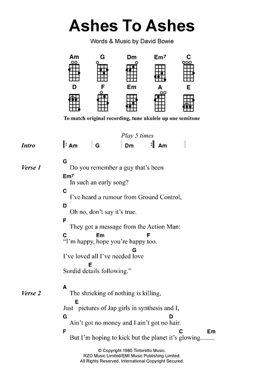 Tablature guitare Ashes To Ashes de David Bowie - Ukulele