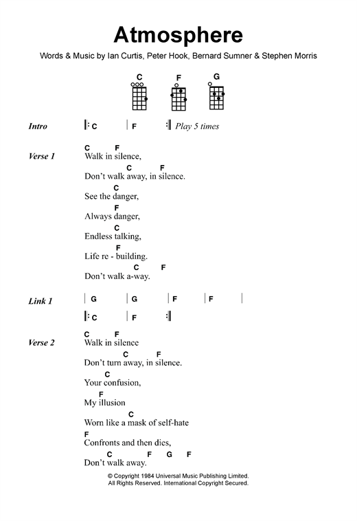 Tablature guitare Atmosphere de Joy Division - Ukulele