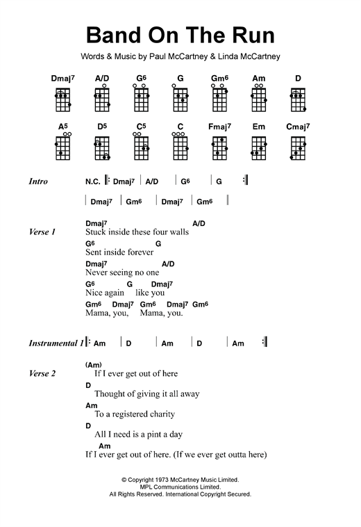 Tablature guitare Band On The Run de Paul McCartney & Wings - Ukulele