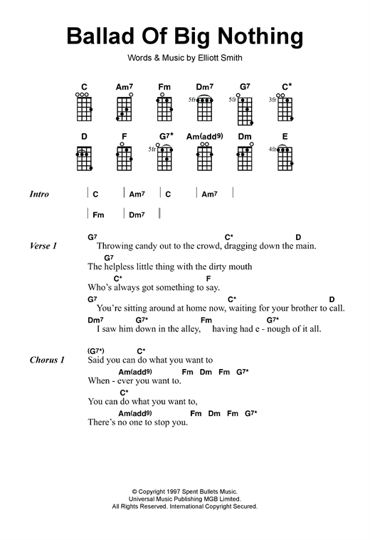 Tablature guitare Ballad Of Big Nothing de Elliott Smith - Ukulele