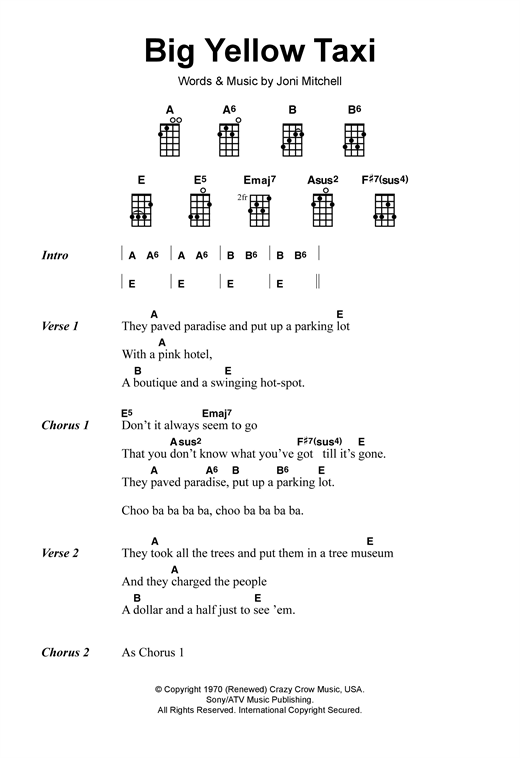Tablature guitare Big Yellow Taxi de Joni Mitchell - Ukulele