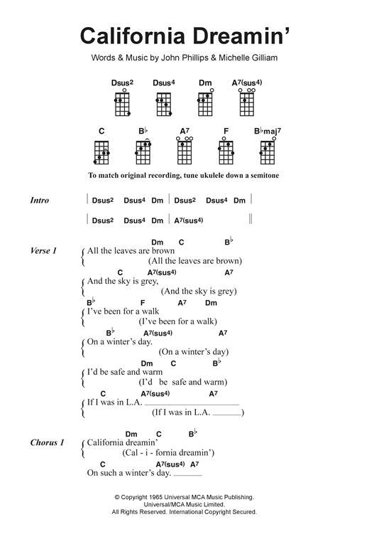 Tablature guitare California Dreamin' de The Mamas & The Papas - Ukulele