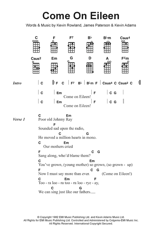 Tablature guitare Come On Eileen de Dexy's Midnight Runners - Ukulele