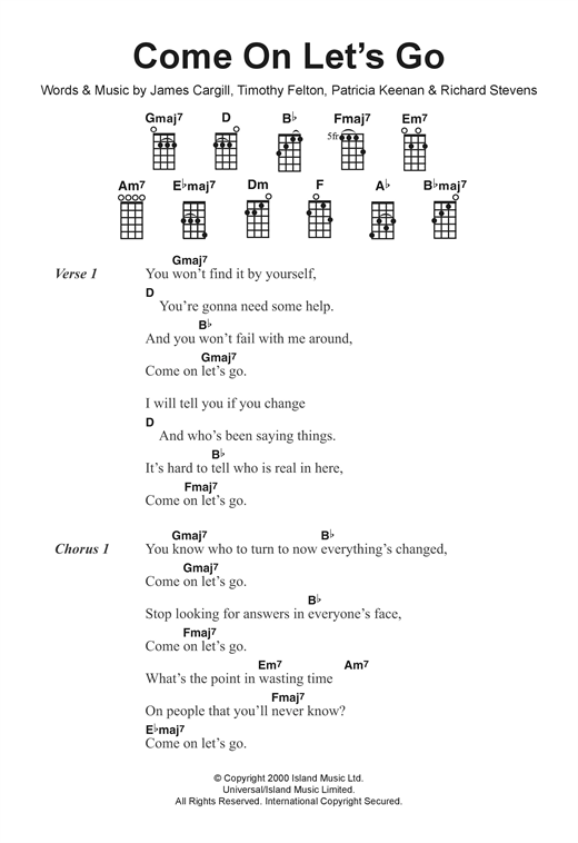 Tablature guitare Come On, Let's Go de Broadcast - Ukulele