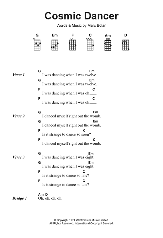 Tablature guitare Cosmic Dancer de T. Rex - Ukulele