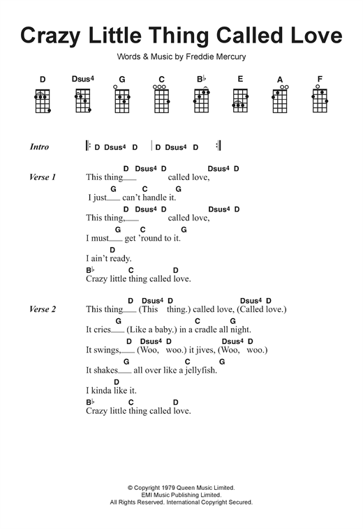 Tablature guitare Crazy Little Thing Called Love de Queen - Ukulele