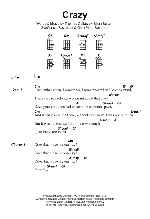 Tablature guitare Crazy de Gnarls Barkley - Ukulele