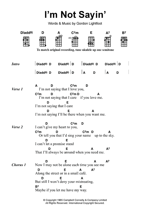 Tablature guitare I'm Not Sayin' de Gordon Lightfoot - Ukulele