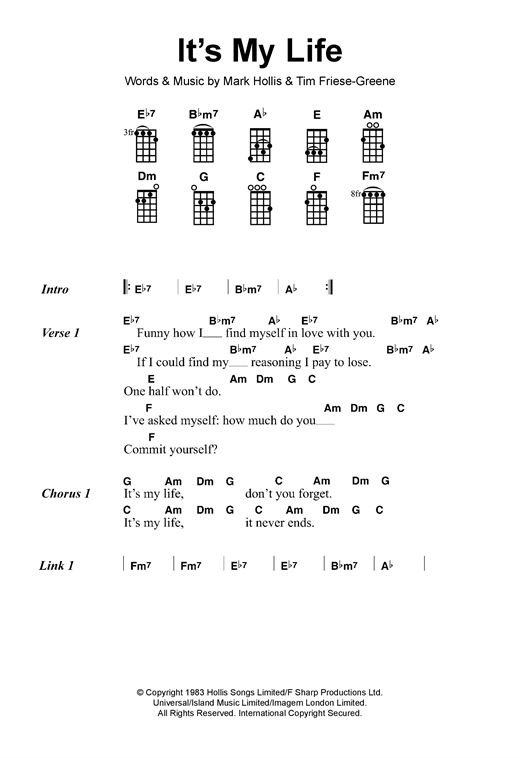 Tablature guitare It's My Life de Talk Talk - Ukulele