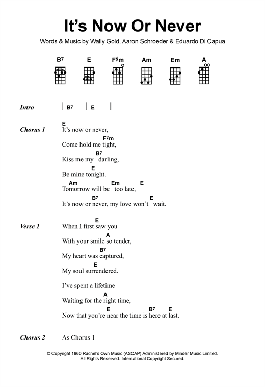 Tablature guitare It's Now Or Never de Elvis Presley - Ukulele