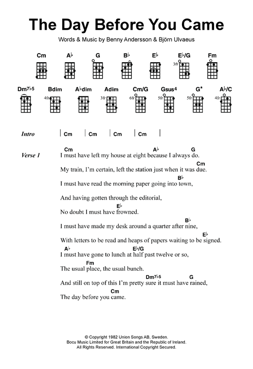 Tablature guitare The Day Before You Came de ABBA - Ukulele