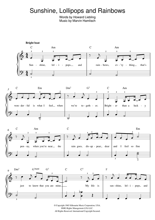 Sunshine, Lollipops And Rainbows Sheet Music