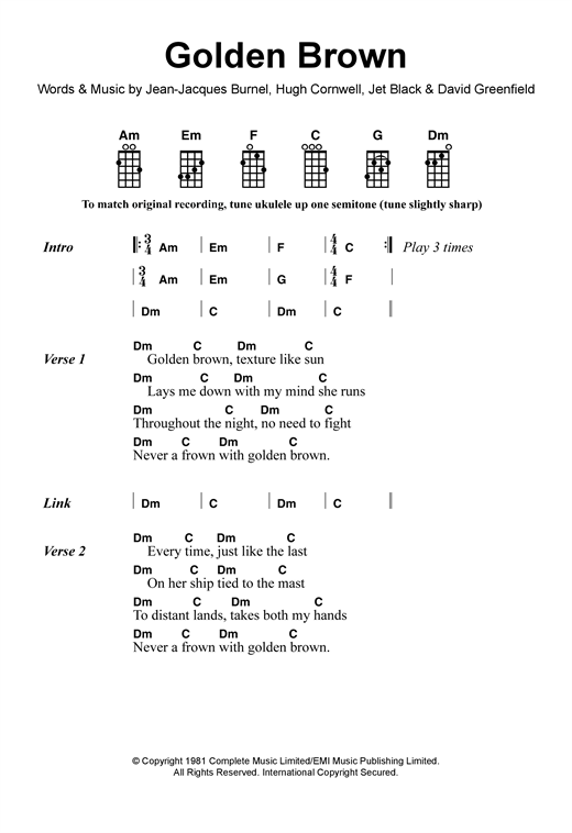 Tablature guitare Golden Brown de The Stranglers - Ukulele