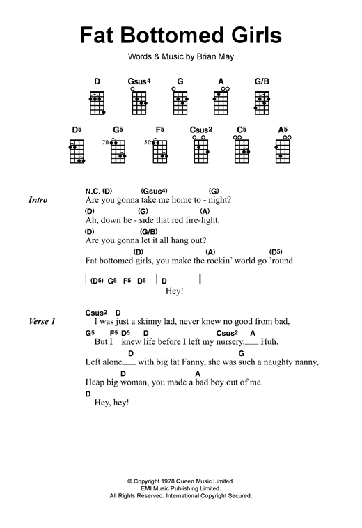 Tablature guitare Fat Bottomed Girls de Queen - Ukulele