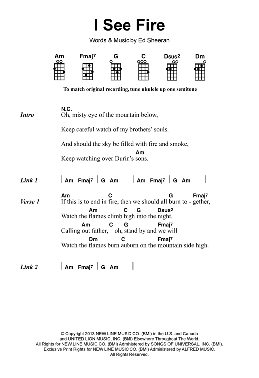 I See Fire (from The Hobbit) sheet music by Ed Sheeran (Ukulele Lyrics u0026 Chords u2013 120038)